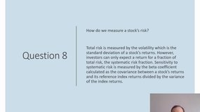 Final Quiz - Introduction to investment and the financial markets (Answers)