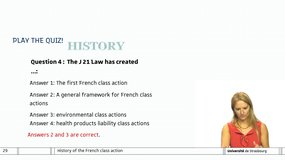 Class action - Session 11: History and overview of The French class action